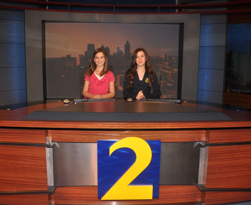 The Founding Sponsor of a4kclub.org, Montlick & Associates, Georgia Auto Accident Attorneys, provides photo of A4K National Spokespeople Jolie Montlick & Nikki Montlick on the WSB-TV Atlanta news set.