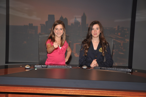 The Georgia personal injury lawyers of Montlick & Associates, Founding Sponsor of a4kclub.org, provides a photo of A4K National Spokespeople Jolie Montlick & Nikki Montlick on the WSB-TV Atlanta News Set.